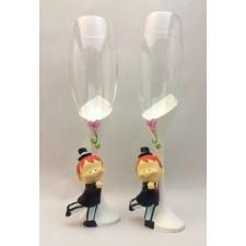 Copas de champagne novios boda gay