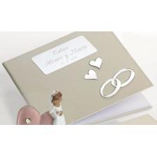 Libro de firmas para boda grabado con nombres novios y fecha