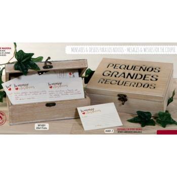 Caja de mensajes y deseos para los novios + 100 tarjetones + boli