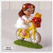 Figuras de comunión niña bici GRABADAS