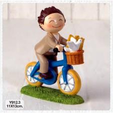Figuras de comunión niño bici GRABADAS
