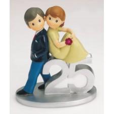 Figurita novios tarta 25 aniversario GRABADA muñecos bodas de plata
