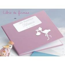 Libro de firmas para bautizo GRABADO rosa niña