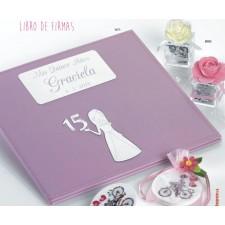 Libro de firmas para 15 años GRABADO rosa