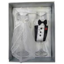 Copas champagne novios boda en caja