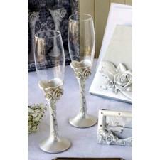 Copas de champagne boda flores