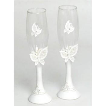 Copas de champán boda mariposas novios boda