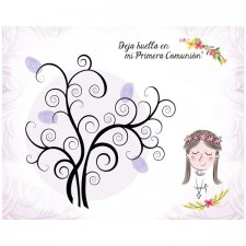 Árbol de huellas para comunión de niña + tintas