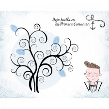 Árbol de huellas para comunión de niño + tintas