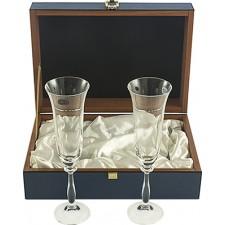 Copas champán boda con estuche GRABADAS