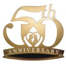 Figura metalica tarta bodas de oro 50 aniversario