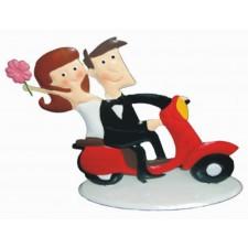 Figurita metalica para tarta de boda moto