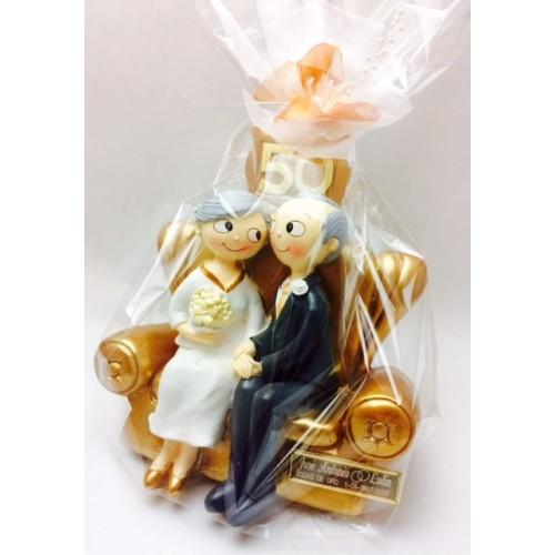 Figura bodas de oro grabada 50 aniversario for Regalos de aniversario de bodas para amigos