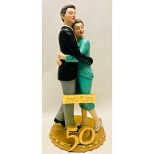 Figura tarta 50 aniversario Grabada muñecos bodas de oro