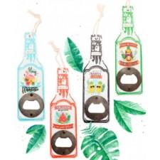 Abrebotellas de madera con forma de botella