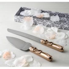 Cuchillos tarta boda GRABADOS bronce