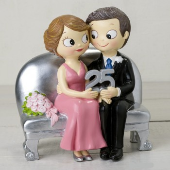 Figura bodas de plata GRABADA 25 aniversario PERSONALIZADA
