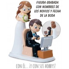 Figura boda novios VIDEOCONSOLA grabada tarta