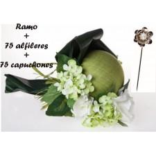 Ramo flores verdes y blancas con 75 alfileres con capuchón
