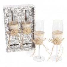 Copas champagne novios RÚSTICAS boda en caja