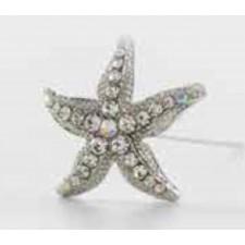 Alfiler metálico estrella de mar brillantes + capuchón