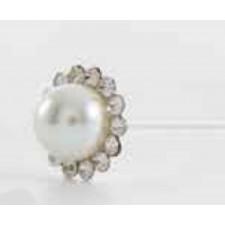 Alfiler metálico perla saturno + capuchón