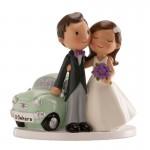 Figura boda tarta novios coche GRABADA pastel boda