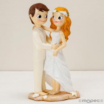 Figura boda novios descalzos PLAYA grabada