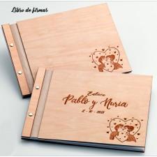 Libro de firmas para boda grabado MADERA
