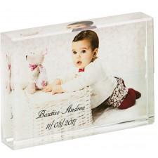 Cubo cristal grande CON FOTO para bautizo de niño o niña