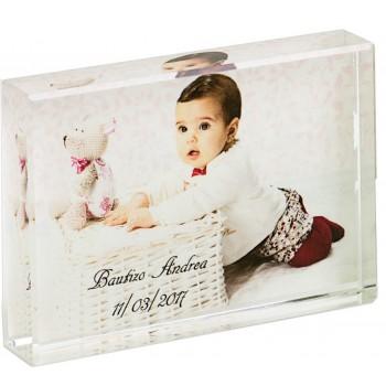Cubo cristal pequeño CON FOTO para bautizo de niño o niña