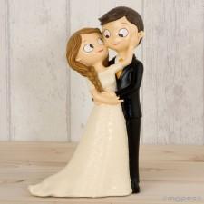 Figura boda novios CARIÑOSOS grabada tarta