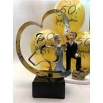 Regalo Bodas de Oro + figura tarta 50 aniversario + globos GRABADO
