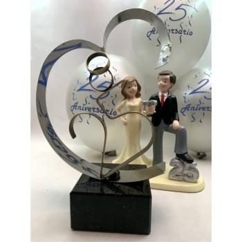 Regalo Bodas de Plata + figura tarta 25 aniversario + globos GRABADO