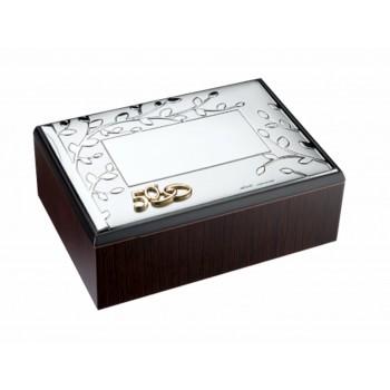 Cofre para arras o anillos bodas de oro BAÑO DE PLATA grabado