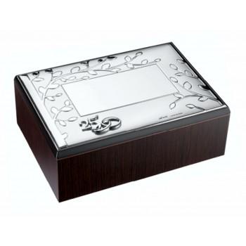 Cofre para arras o anillos bodas de plata BAÑO DE PLATA grabado