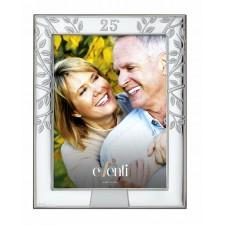 Regalo 25 aniversario bodas de plata marco portafotos BAÑO DE PLATA grabado