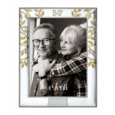 Regalo 50 aniversario bodas de oro marco portafotos BAÑO DE PLATA grabado