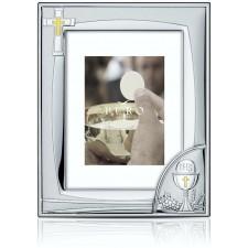 Portafotos bañado en PLATA DE LEY comunión GRABADO regalo