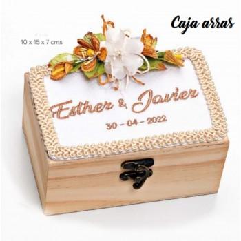 Caja-cofre madera BORDADA EN BEIGE para arras boda