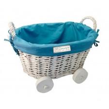 Cesta mimbre para entregar regalos de bautizo de niño GRABADO carrito