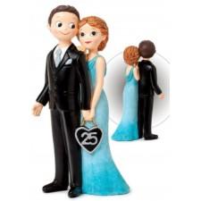Figura tarta bodas de plata GRABADA 25 aniversario muñecos pastel