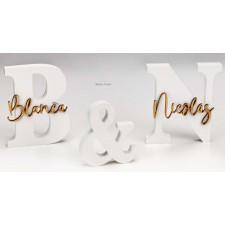 Letras boda novios en madera PERSONALIZADAS con nombres