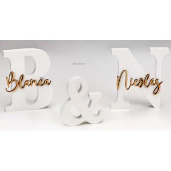 Letras boda novios en madera PERSONALIZADAS con nombres boda