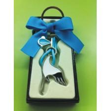 Llavero cigüeña azul GRABADO bautizo