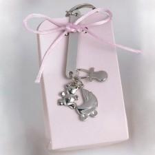 Llavero colgantes caja rosa GRABADO