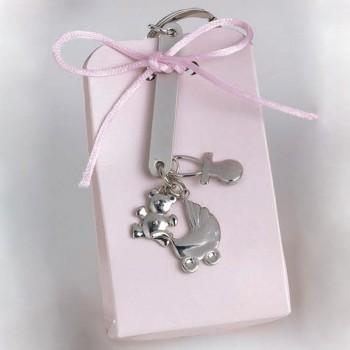 Llavero colgantes caja rosa GRABADO bautizo niña