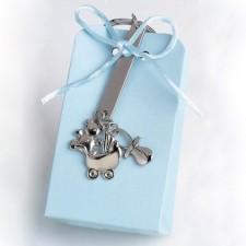 Llavero colgantes caja azul GRABADO bautizo niño