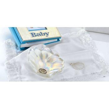 Pañuelo para bautizo + concha GRABADA