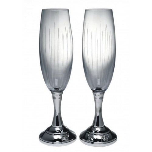 Copas de champagne para novios de plata de ley con alianzas for Copas para champagne